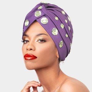 Accessories - Purple Glamorous Diamond Turban Beanie Hat